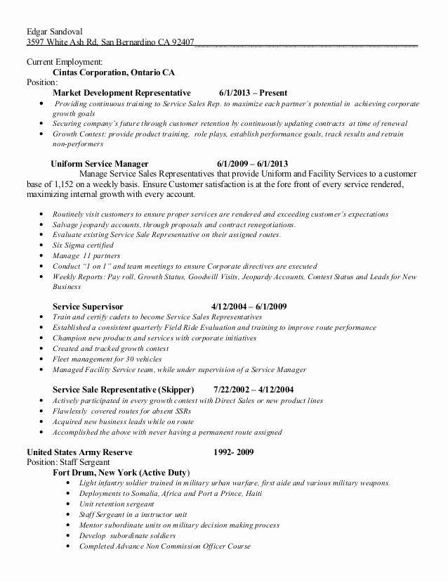 Fresh Edgar Sandoval Cintas Resume In 2020 Sales Resume Examples Sales Jobs Sales Resume