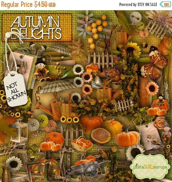 ON SALE Autumn Delights  Digital Scrapbook Kit by PickleStarScraps