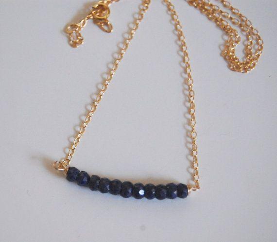 Genuine Dark Blue Sapphire  necklace with Gold by ferozasjewelery, $48.00
