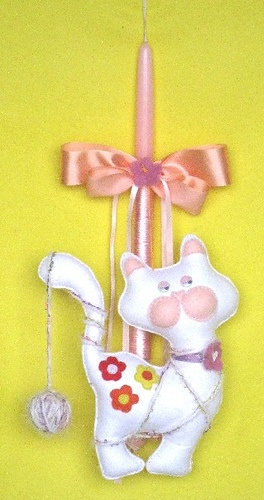 Easter candle with thme: Kitty cat is making noise. A modern Greek Easter candle creation