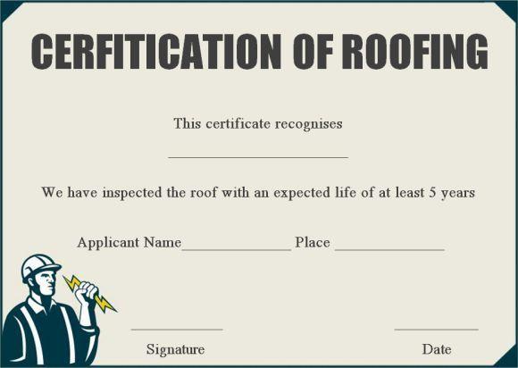 12 Roof Certificate Template Ideas Certificate 1