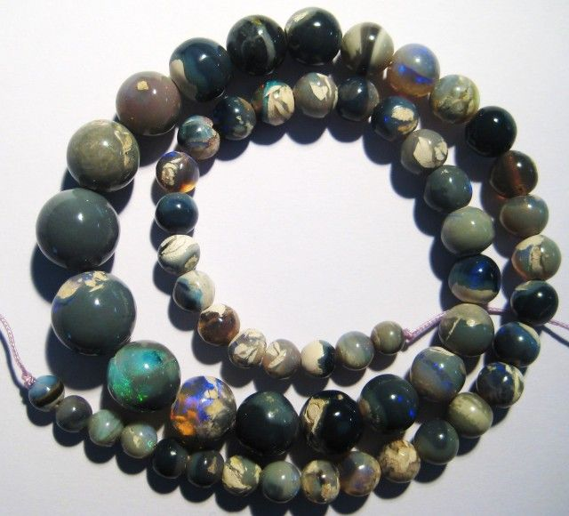 Stunning Australian Lightning Ridge Opal Bead Strand, 12..5 - 5.5mm rounds black opal beads, opal beads, opal necklaces