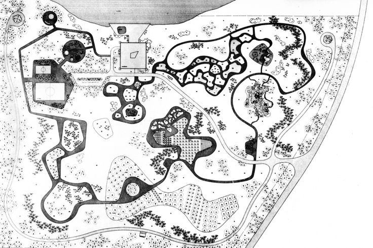 OSCAR NIEMEYER AND ROBERTO BURLE MARX, RESIDENCE OF THE VICE PRESIDENT, BRASILIA, BRAZIL, 1975. Pinned to a Garden Design - Roberto Burle Marx.