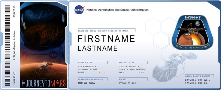 Send Your Name to Mars on InSight at http://go.usa.gov/3Aj3G and retrieve your frequent flyer points on NASA's Journey to Mars.