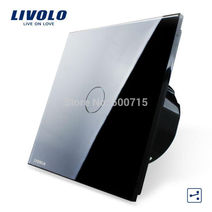 Livolo ЕС Стандартный, настенный Выключатель, VL-C701S-12, 1 Gang 2 Way Управления, хрусталь Стеклянные Панели, стены Света Сенсорный Экран Переключатель