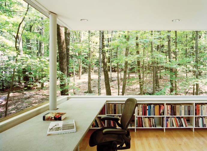 Olive Tree Library on Catskill Mountains, New York by Peter L. Gluck and Partners: Libraries, Books, Dreams, Window, Offices Spaces, Work Spaces, Workspaces, Places, Home Offices