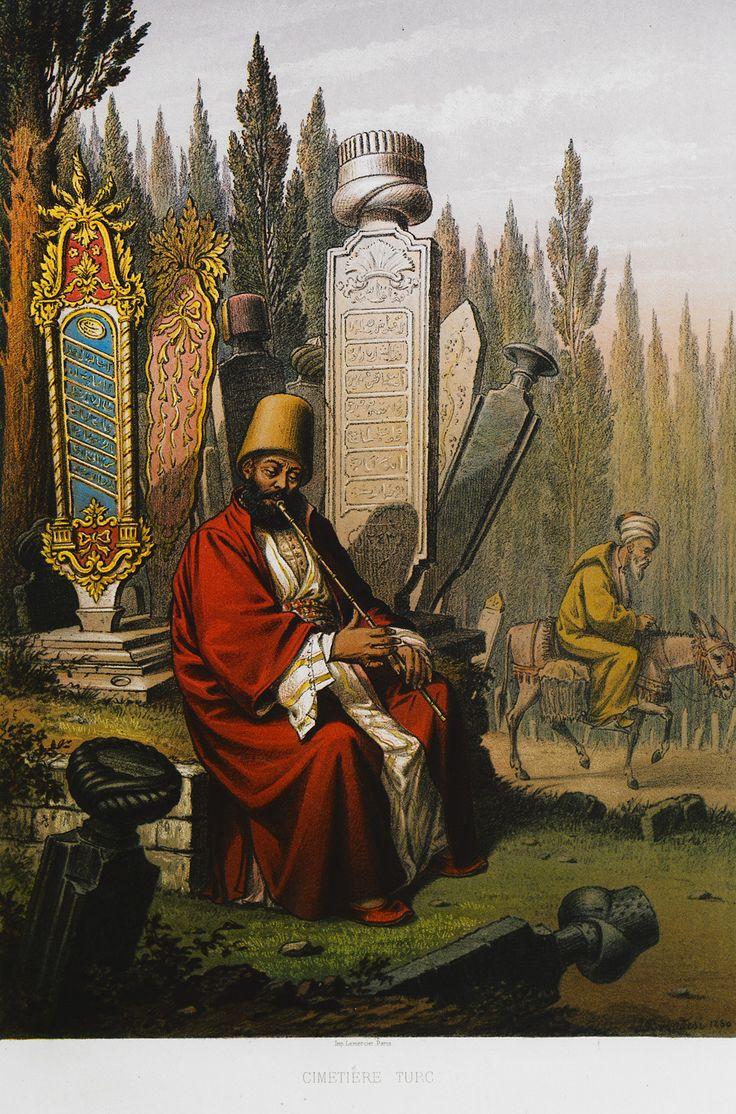 Ottoman Muslim cemetery. BRINDESI, Jean. Souvenirs de Constantinople, Paris, [Imp. Lemercier, 1845].