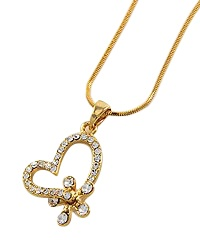"15 1/2"" + EXT Gold Clear Rhinestones Heart Pendant Necklace Retail - $24.56 You Pay - $12.28 w/ free shipping in the US."