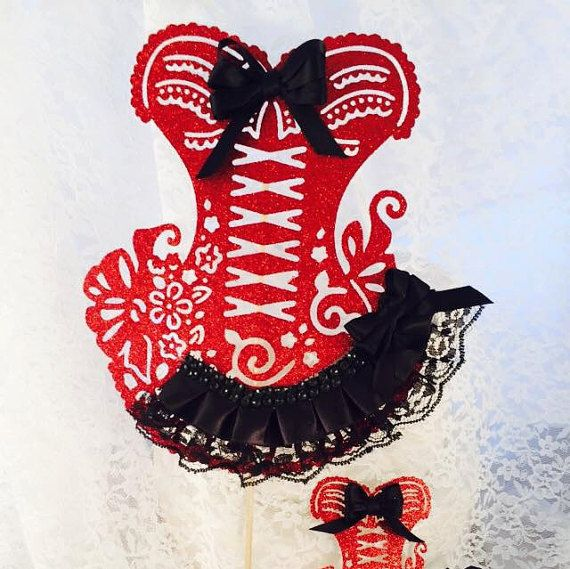 Bachelorette Corset Cake Topper - Cupcake Toppers - Lingerie Party - Bridal Shower - Steampunk - Victorian - Party Decorations - Bridal