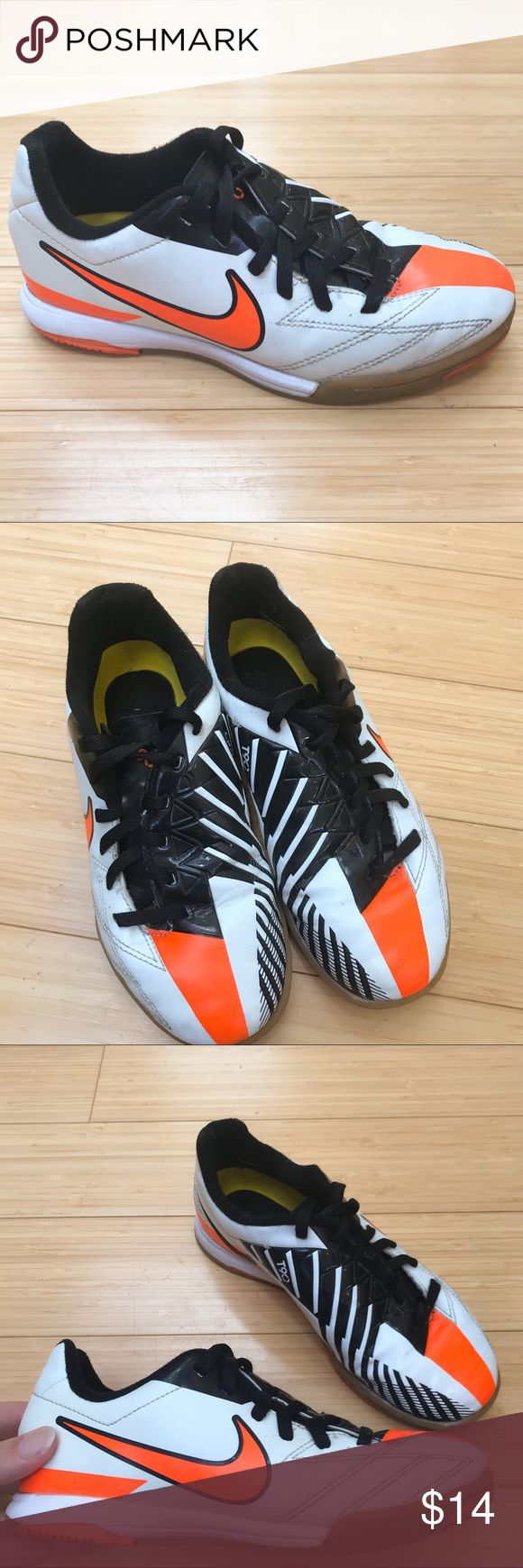 NIKE indoor soccer shoes, 2 2Y youth. Nike indoor soccer shoes, size youth 2, 2Y. Boys or girls. Used for one season, still very good condition, some very tiny pebbles in the soles, no real wear. Good for Futsal, futbal. Nike Shoes Sneakers