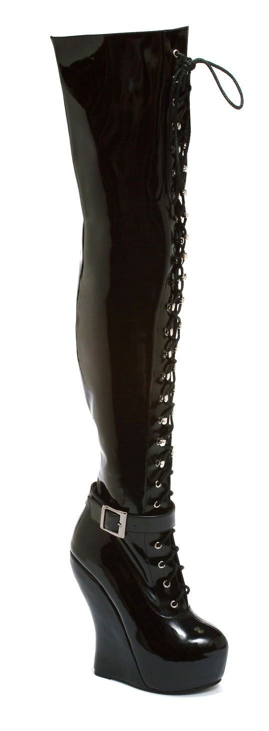 black pat thigh high lace up curve wedge boot
