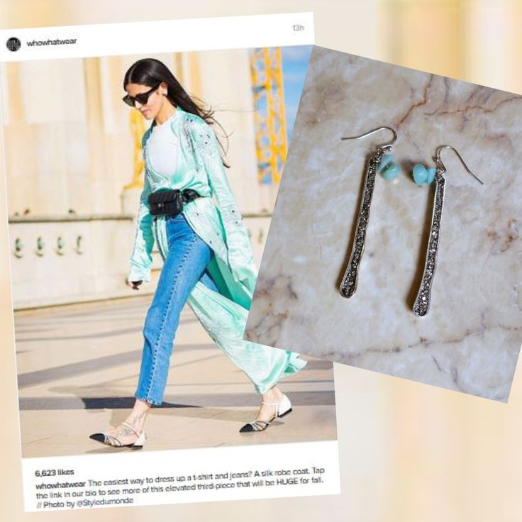 Summer with jeans and T-shirt? Sure like @whowhatwear. With a great accessory? Of course @marlymoretti with this Deep Pyrite with Amazonite beads. #whowhatwear #summer #amazonitebeads
