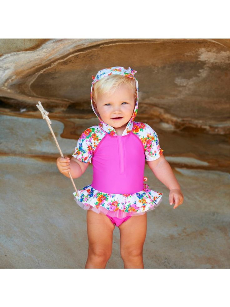 Escargot Tallulah Baby Hooded One Piece  The Tallulah Baby Hooded one piece is the cutest thing you will see on the beach this Summer!   It features UPF50+ sun protection, a super cute hood to protect from the sun's harsh rays and a built-in aqua nappy.   For ages 3mths - 18 mths.