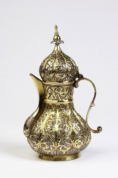 Ottoman Baroque Style Coffee Pot In Copper And Silver Gilt Early 19th Century