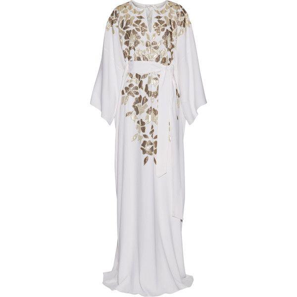 Oscar de la RentaMetallic Appliquéd Silk Crepe De Chine Gown ($2,990) ❤ liked on Polyvore featuring dresses, gowns, ivory, ivory dress, white evening gowns, silk kaftan, white silk gown and oscar de la renta gowns