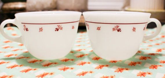 These cups are in perfect shape with no scratches or chips! This is a rare pattern that was later used for Corelle. The cups are made of pyroceram, so they are heavy duty and heat proof. Two available