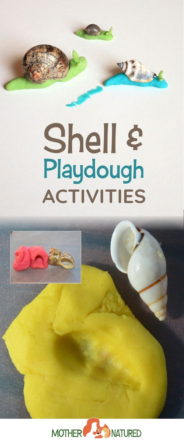Playdough activities for preschoolers #playdough #shells #natureplay #naturecrafts