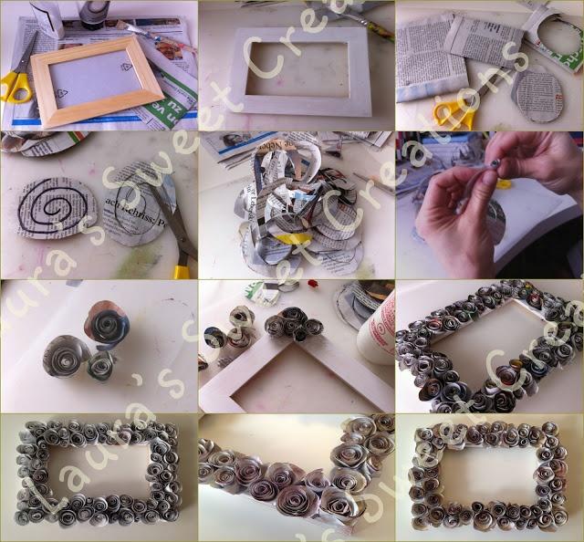 Lauras Sweet Creations: Tutorial: Cornice con rose di carta