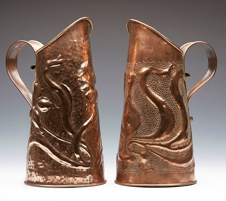 TWO ARTS & CRAFTS COPPER FLORAL DESIGN JUGS ATTRIBUTED TO KESWICK C.1900 | eBay