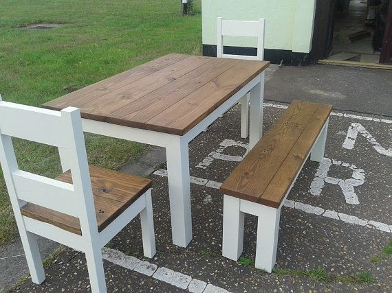 Chunky Rustic Reclaimed Timber Dining Table Four Chairs Bench