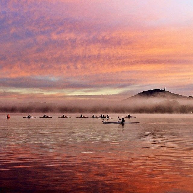 """""""Another dawn training session on beautiful Lake Burley Griffin."""" Photo by Instagrammer cecil1958. #visitcanberra #cbr #canberra"""