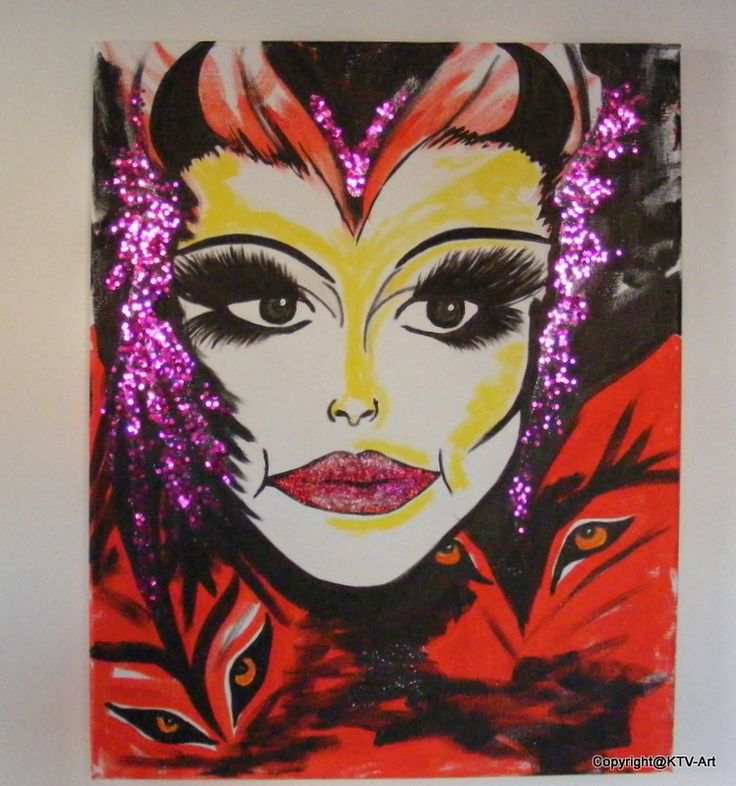 """"""" She devils"""" Acryl op canvas 40 x 50 red,  …"""