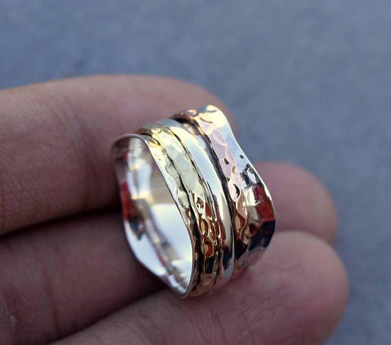 MARVELOUS Silver Spinner Ring Meditation Rings Fidget