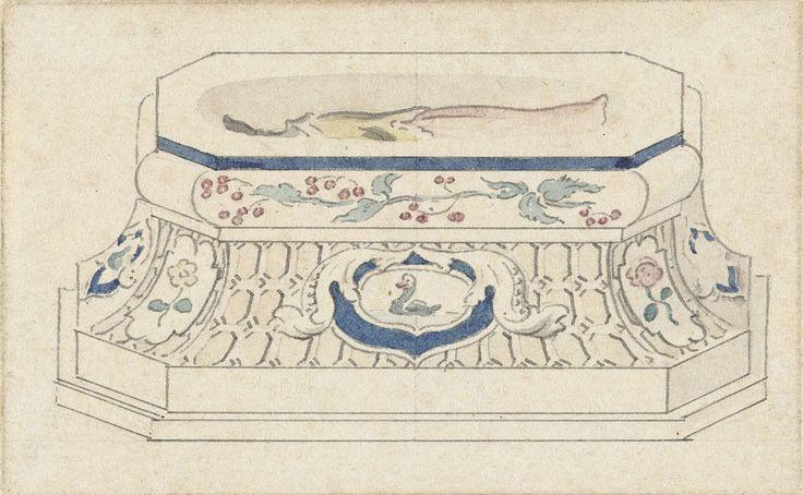 Cornelis Pronk | Zoutvat, Cornelis Pronk, 1701 - 1759 | Ontwerp voor een zoutvat met Chinees motief; zijaanzicht. Het zoutvat heeft een langwerpige, achthoekige vorm. De lange zijkant is versierd met een exotische vogel, de korte zijkanten zijn gevuld met bloemen. De tussenliggende ruimten zijn opgevuld met een geometrisch motief. Het ontwerp maakt deel uit van een serie die Pronk in opdracht van de Verenigde Oost-Indische Compagnie maakte voor de decoratie van porselein.