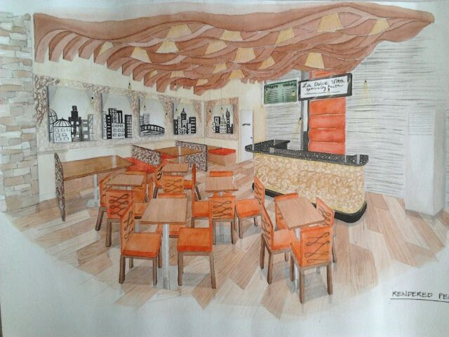 Cafe Restaurant #Interior #Design #rendered #perspective #ItalianTheme #pasta