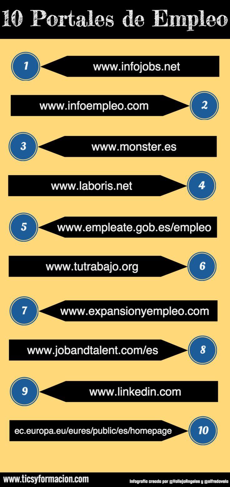 10 Portales de Empleo #infografia #infographic #empleo  Ideas Desarrollo Personal para www.masymejor.com