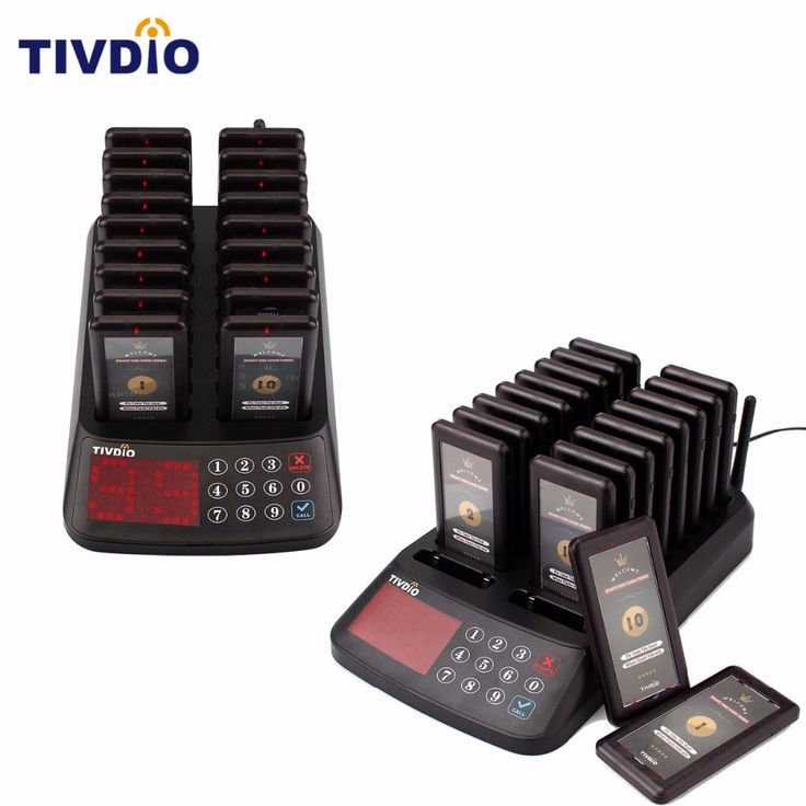 2 PCS TIVDIO Wireless Paging Queuing System Restaurant 99 Channel 18 Coaster Pager+1 Keypad Transmitter Guest Calling F9406A #Affiliate