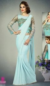 Sky Blue Color Shaded Fancy Knit ,Net and Silk Sari #sareeonlineusa #indiandressesonlineusa Be a charmer wearing this sky blue color shaded net and silk sari. The amazing attire creates a dramatic canvas with incredible lace and stones work. Upon request we can make round front/back neck and short 6 inches sleeves regular saree blouse also. USD $ 149 (Around £ 103 & Euro 113)