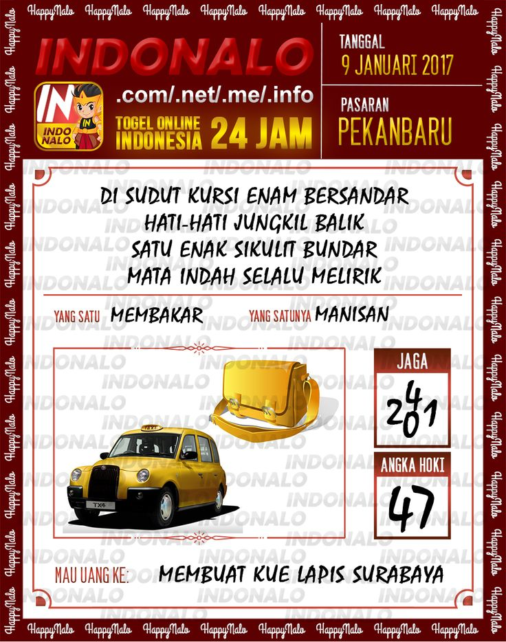 Kode Jaga 6D Togel Wap Online Live Draw 4D Indonalo Pekanbaru 9 Januari 2017