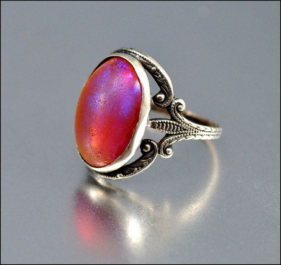 Art Deco Ring Sterling Silver Dragons Breath Ring Jelly Opal Ring Fire Opal Vintage 1920s Art Deco Jewelry Glass