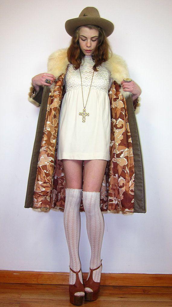 60s/70s Fox Fur Mink & Leather Brown Cream by gypsiesrisingvintage