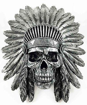 """Indian Chief Skull Warrior Wall Hanging Figurine Home Decor Plaque Skeleton 16""""H 