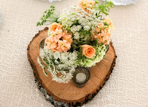 Wood Slab Centerpieces Wedding Centerpieces Wood by MMDreamDecor