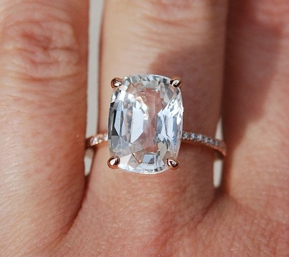 Blake Lively ring White Sapphire Engagement Ring cushion cut 18k rose gold…