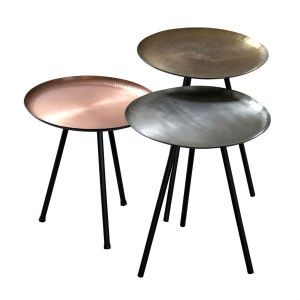 Set Of 3 Round Metallic Nesting Tables