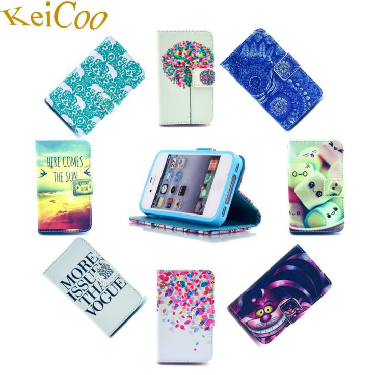 Cute Cartoon Print PU Leather Cases For Apple iPhone4 iPhone 4S Book Flip Back Covers TPU Shell For iphoen 4 Magnetic Card Slots #Affiliate