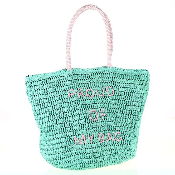 Dámska taška zo syntetickej rafie Kbas s nápisom zelená
