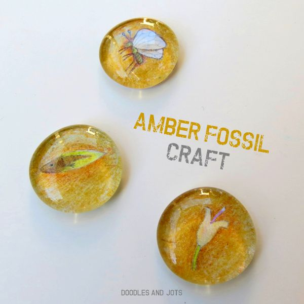 Amber Fossil Craft makes great holiday gifts. You can add a loop to make a pendant. From Doodles and Jots.