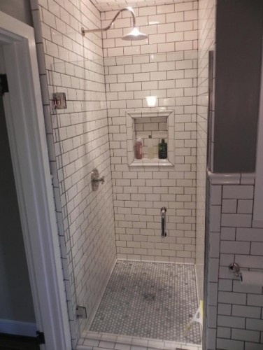 or maybe instead of color tile do white with this grey grout - then add my color in the wall paint?