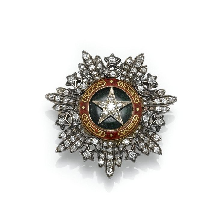 Ottoman cutting.diamonds, height approximately 31mm, removable brooch fitting.Ottoman