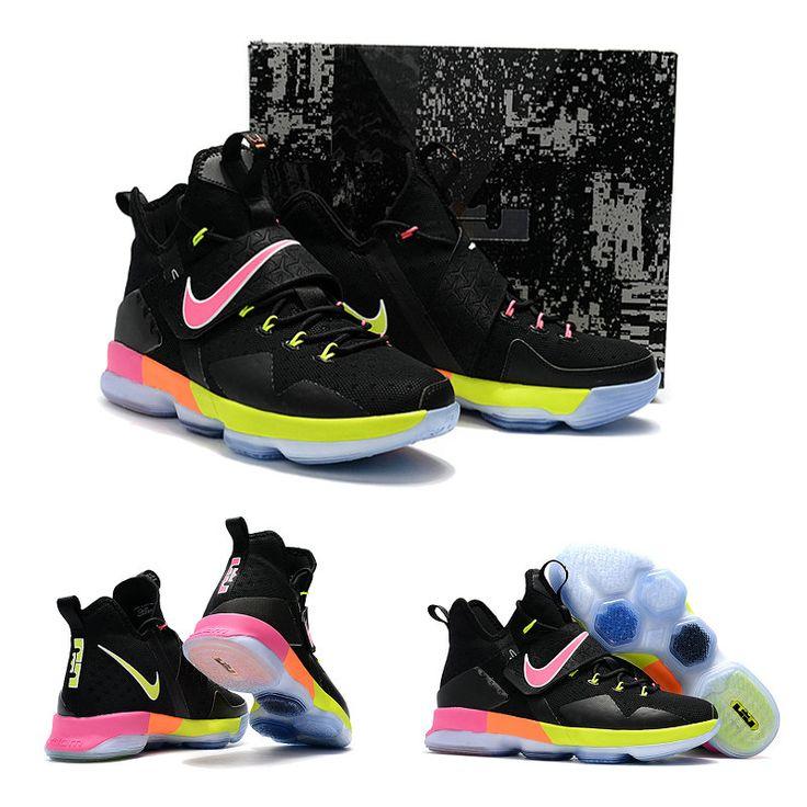 "February 17,2017 Shoes Nike LeBron 14 ""Black Rainbow"" Black Base Green Sunset Glow Pink"