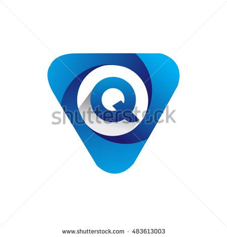 Logo letter Q blue colored in the triangle shape, Vector design template…