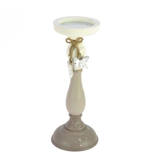 WOODEN_POLYRESIN CANDLE HOLDER IN BEIGE COLOR 10X10X27