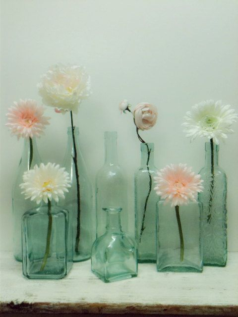 Aqua Glass Bottles,Beach Wedding,DIY Wedding,Mint Green Glass,Beach,Hemlock Wedding,Decor.Winter Wedding,Flower Vase,Shabby Chic Wedding on Etsy, $79.64 AUD
