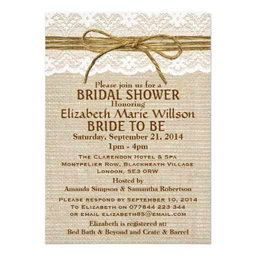 15 best vintage wedding shower invitations images on pinterest ivory lace rustic twine bow burlap bridal shower personalized invitation stopboris Images