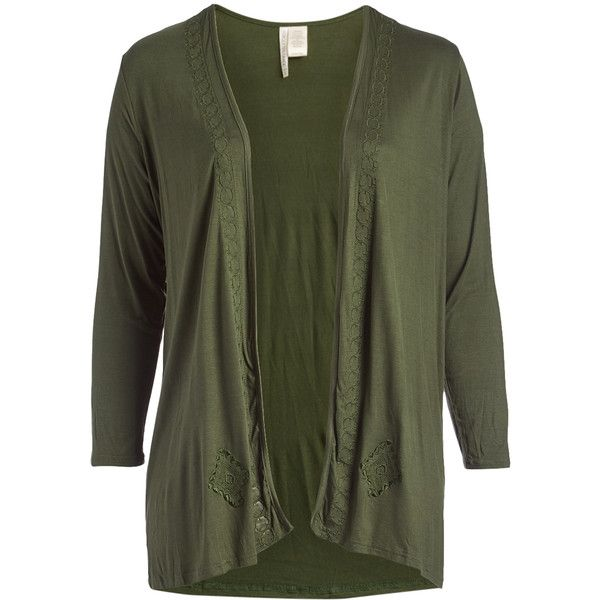 Simply Irresistible Olive Geometric-Accent Long-Sleeve Open Cardigan ($25) ❤ liked on Polyvore featuring plus size women's fashion, plus size clothing, plus size tops, plus size cardigans, plus size, plus size long sleeve tops, army green cardigan, long open cardigan, long green cardigan and green cardigan